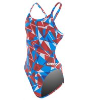 Arena Girls' Shattered Glass Challenge MaxLife Thin Strap Open Back One Piece Swimsuit