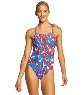 Arena Women's Shattered Glass Challenge MaxLife Thin Strap Open Back One Piece Swimsuit