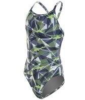 Arena Girls' Camo MaxLife Light Drop Open Back One Piece Swimsuit