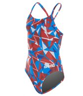 Arena Girls' Shattered Glass MaxLife Sporty Thin Strap Racer Back One Piece Swimsuit