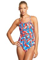 Arena Women's Shattered Glass MaxLife Sporty Thin Strap Racer Back One Piece Swimsuit