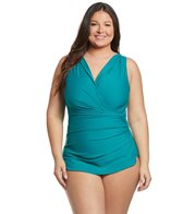 Sporti Plus Size Isabella Tummy Control Wrap One Piece Swimsuit