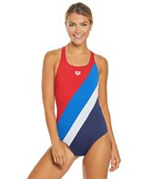 Arena Women's Diagonal Stripe Swim Pro One Piece Swimsuit