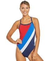 Arena Women's Diagonal Stripe Challenge Back One Piece Swimsuit