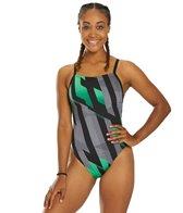 Speedo Women's Endurance+ Pinstripe Flight Flyback One Piece Swimsuit