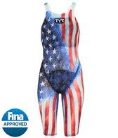 TYR Women's Avictor Supernova USA Closed Back Tech Suit Swimsuit