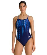 Arena Women's Team Painted Stripes Light Drop Back One Piece Swimsuit