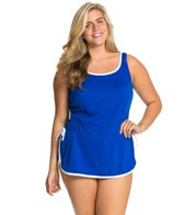 Tuffy Plus Size Solid Tie Side Swim Dress