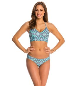 Jessica Simpson Swimwear Desert Diamond Cropped Bralette Bikini Top