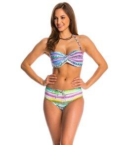 Jessica Simpson Swimwear Limelight Twist Bandeau Bikini Top (D-Cup)