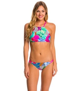 Swim Systems Floral Fusion Strappy High Neck Bikini Top (D/DD Cup)