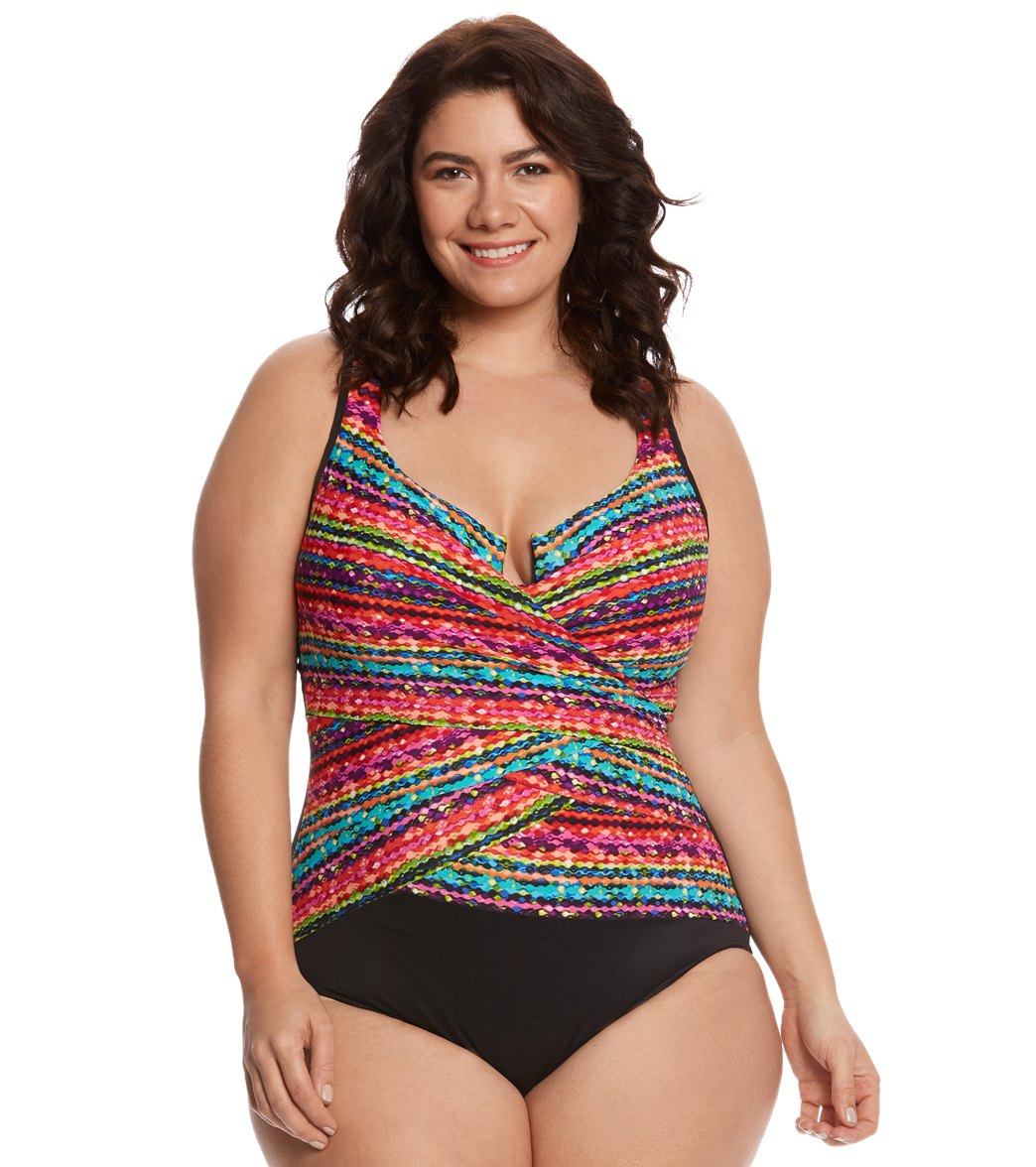 Plus Size Colorful Layered Swimsuit