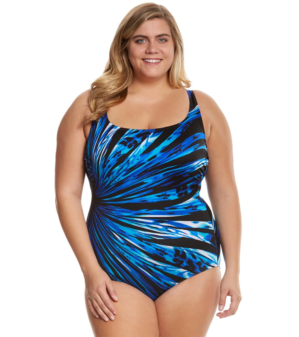 Sundial Patterned Plus Size Swimwear