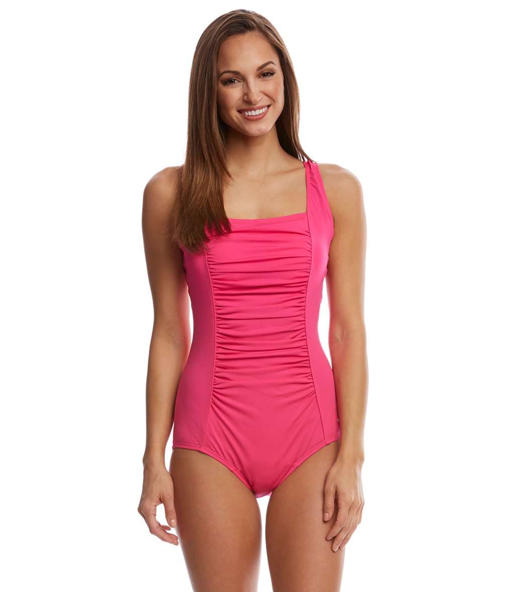Awesome Women One Piece Swim Part - 5: Speedo Endurance Womenu0027s Shirred Tank One Piece Swimsuit At SwimOutlet.com  - Free Shipping