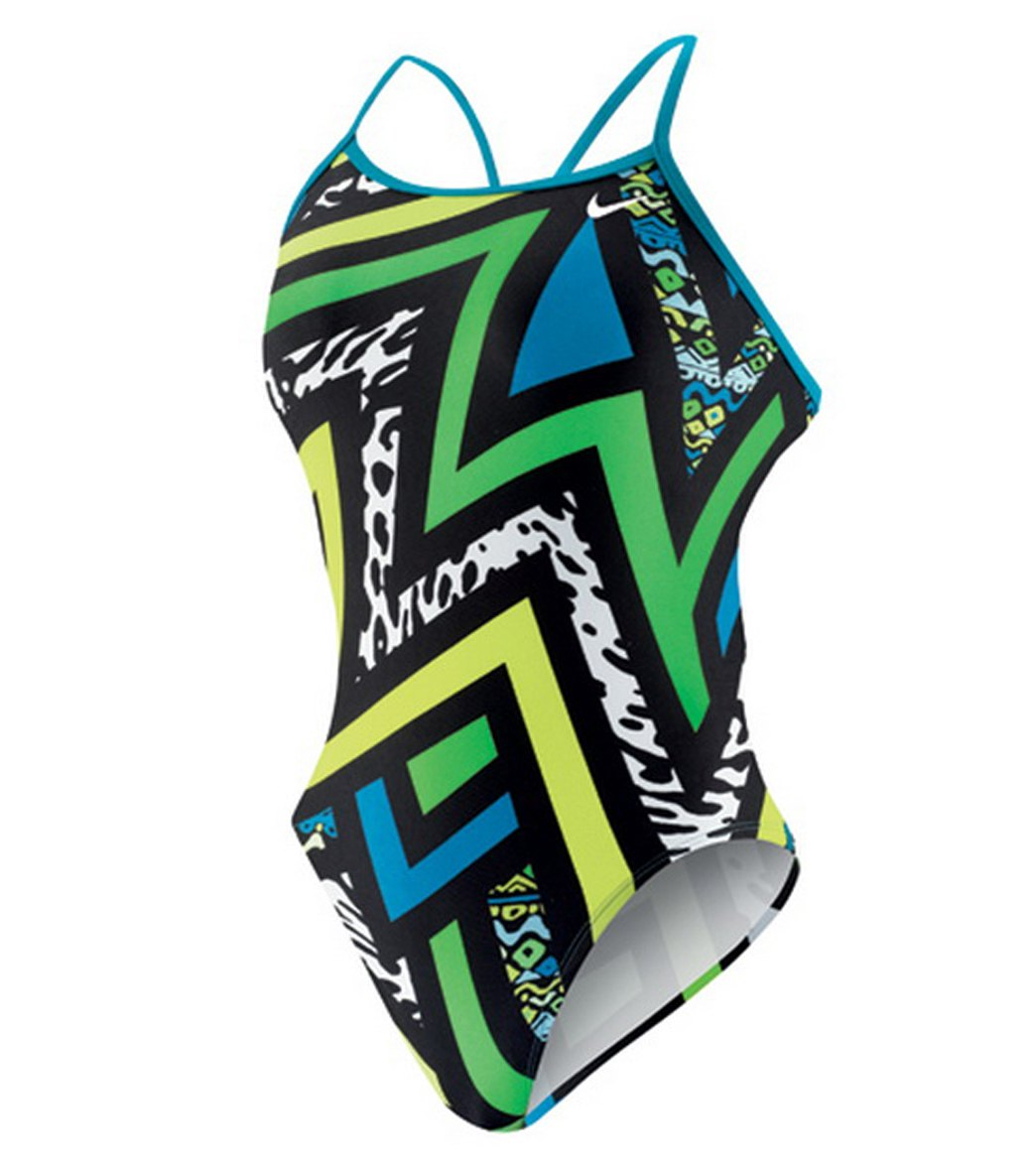 Nike Swim POW! Modern Lingerie Tank One Piece Swimsuit at SwimOutlet.com -  Free Shipping