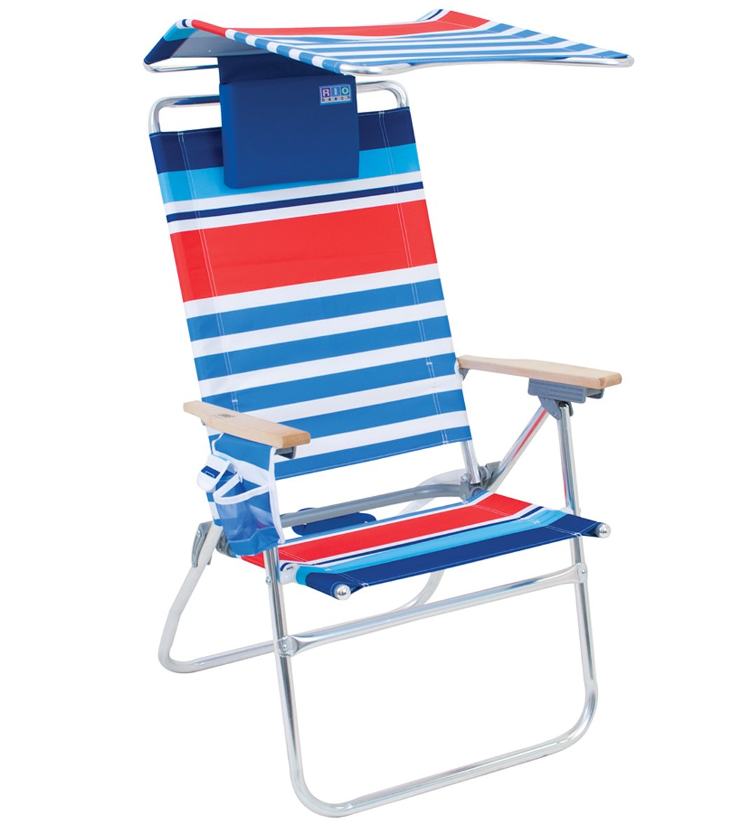 Rio Brands Hi-Boy Aluminum Beach Chair With Canopy And Pillow at SwimOutlet.com - Free Shipping  sc 1 st  SwimOutlet.com & Rio Brands Hi-Boy Aluminum Beach Chair With Canopy And Pillow at ...