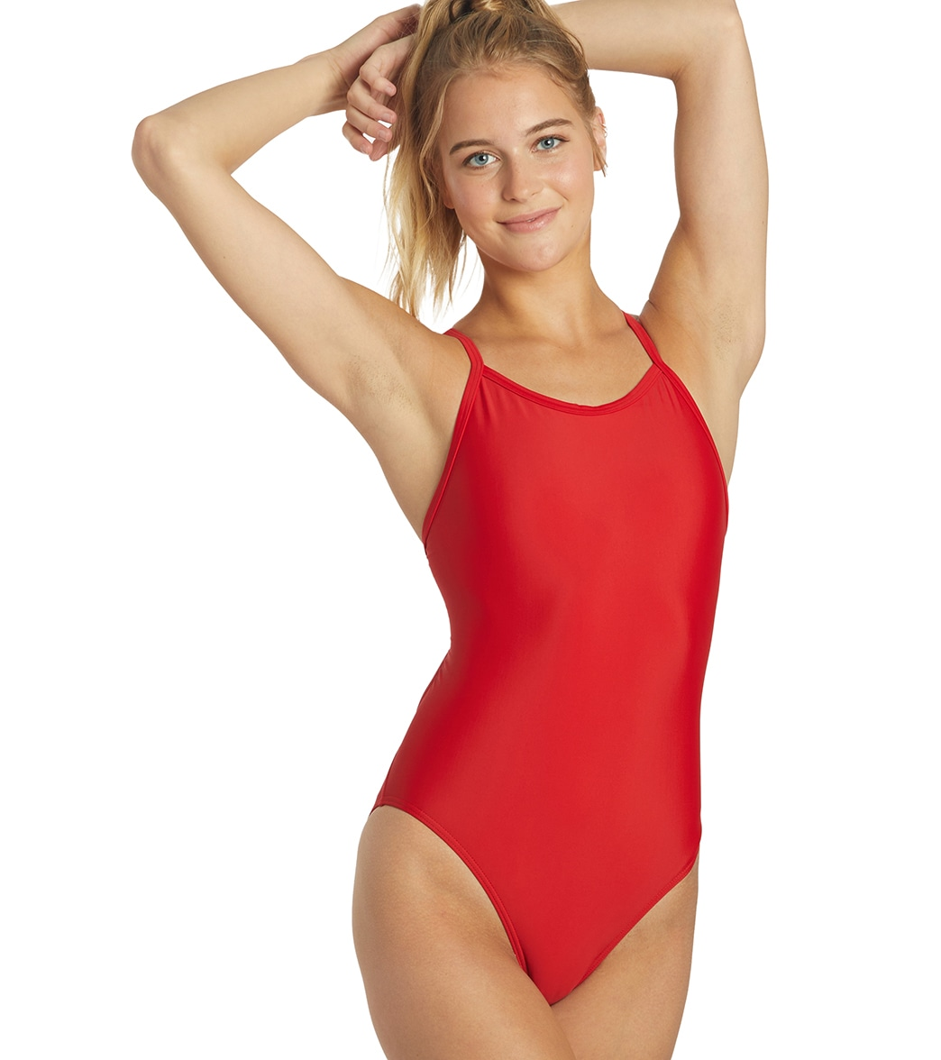 74675098d7 in One Piece Swimsuits. iSwim Essential Solid Thin Strap One Piece Swimsuit