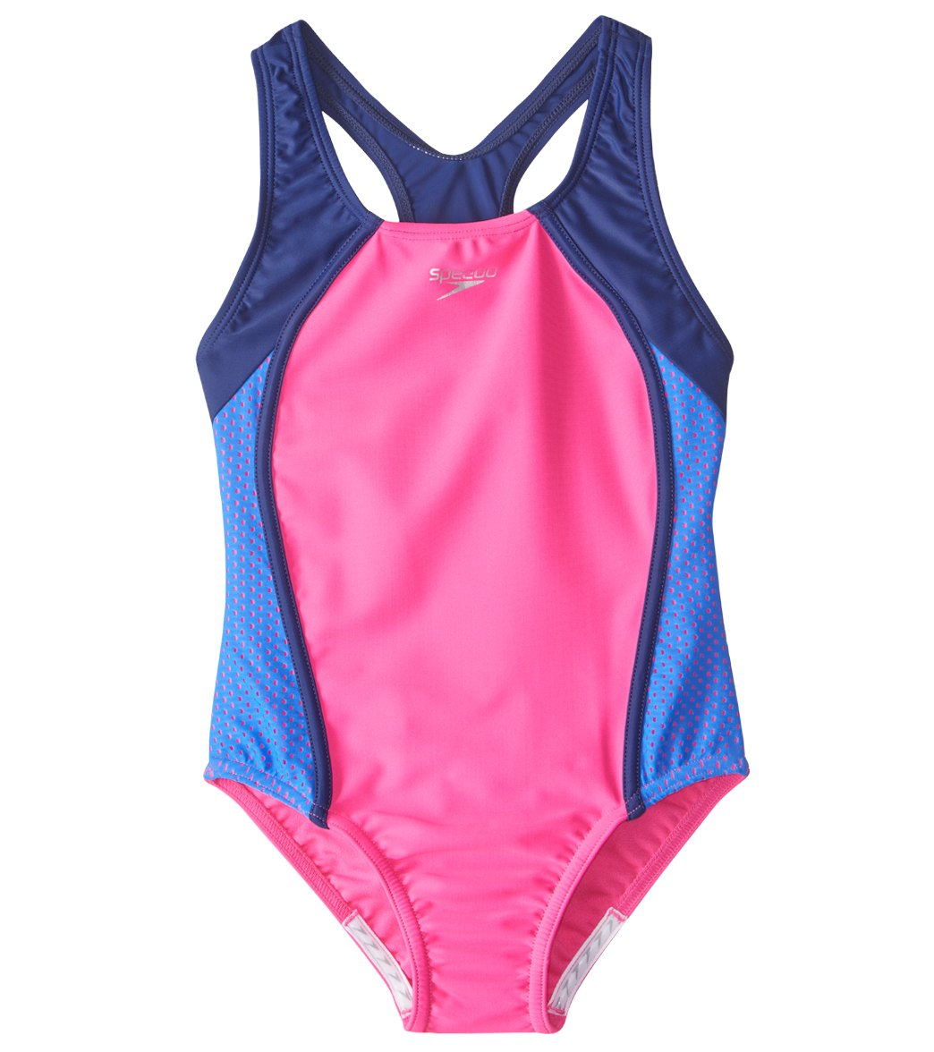 09d529f4a Speedo Girls' Mesh Splice Thick Strap One Piece Swimsuit (7yrs-16yrs)
