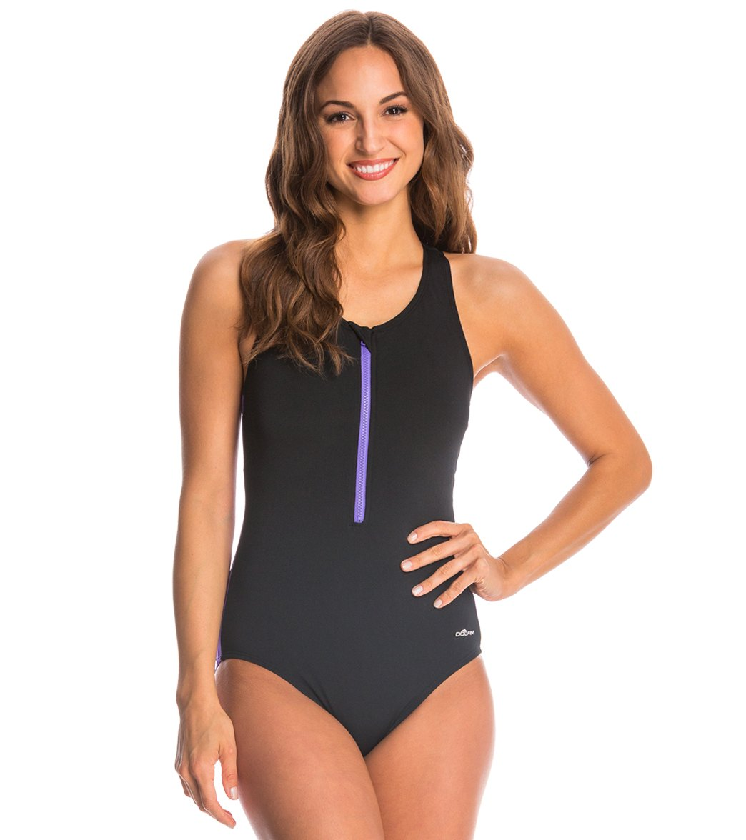 Dolfin Aquashape Zip-Front Racerback One Piece Swimsuit at SwimOutlet.com -  Free Shipping