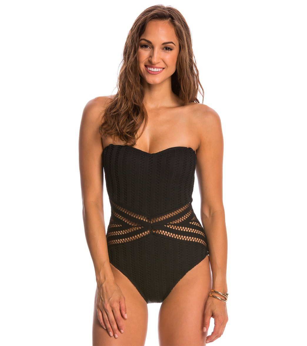 Kenneth Cole Swimwear Tough Luxe Bandeau One Piece Swimsuit at  SwimOutlet.com - Free Shipping