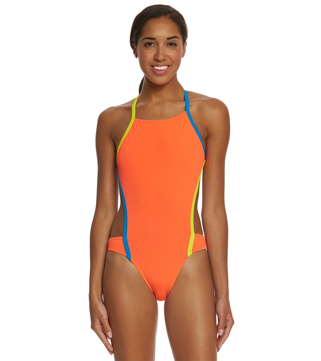 speedo turnz vee 2 color block one piece swimsuit at free shipping