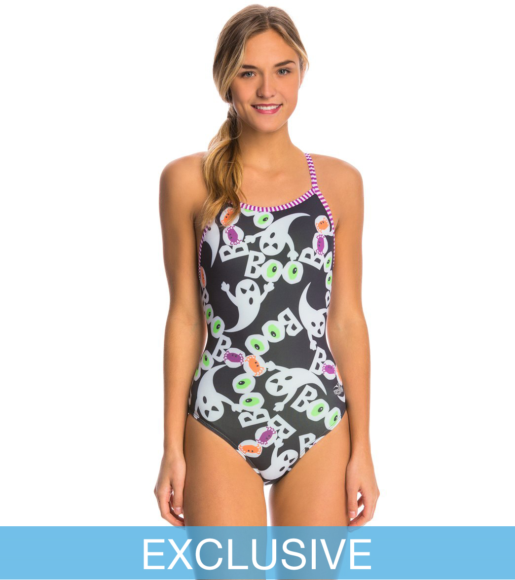 dolfin uglies swimoutlet exclusive womens halloween boo one piece swimsuit at swimoutletcom free shipping - Halloween Swimsuit