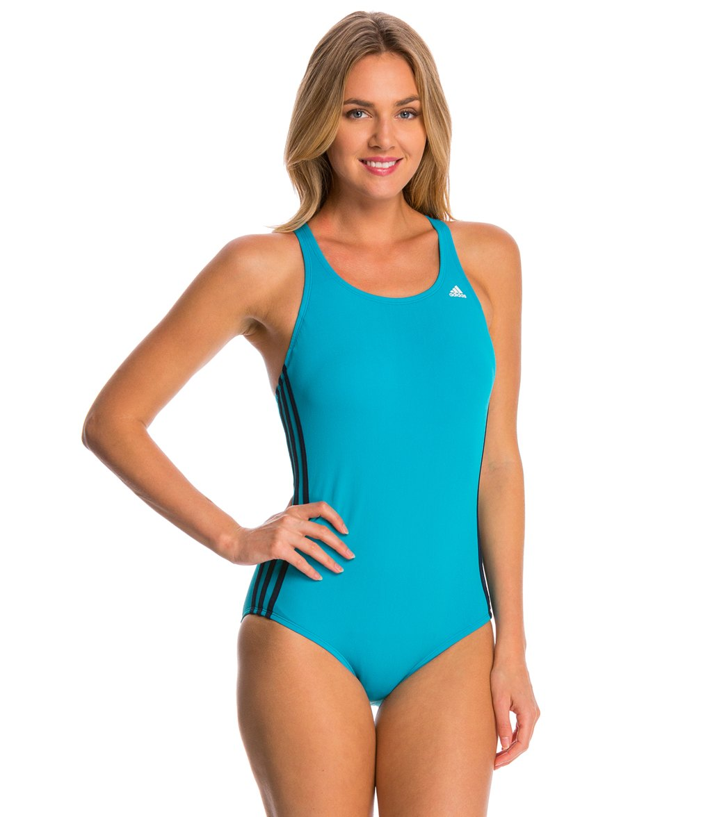 quAdidas Women's 3-Stripe One Piece Swimsuit at SwimOutlet.com - Free  Shipping