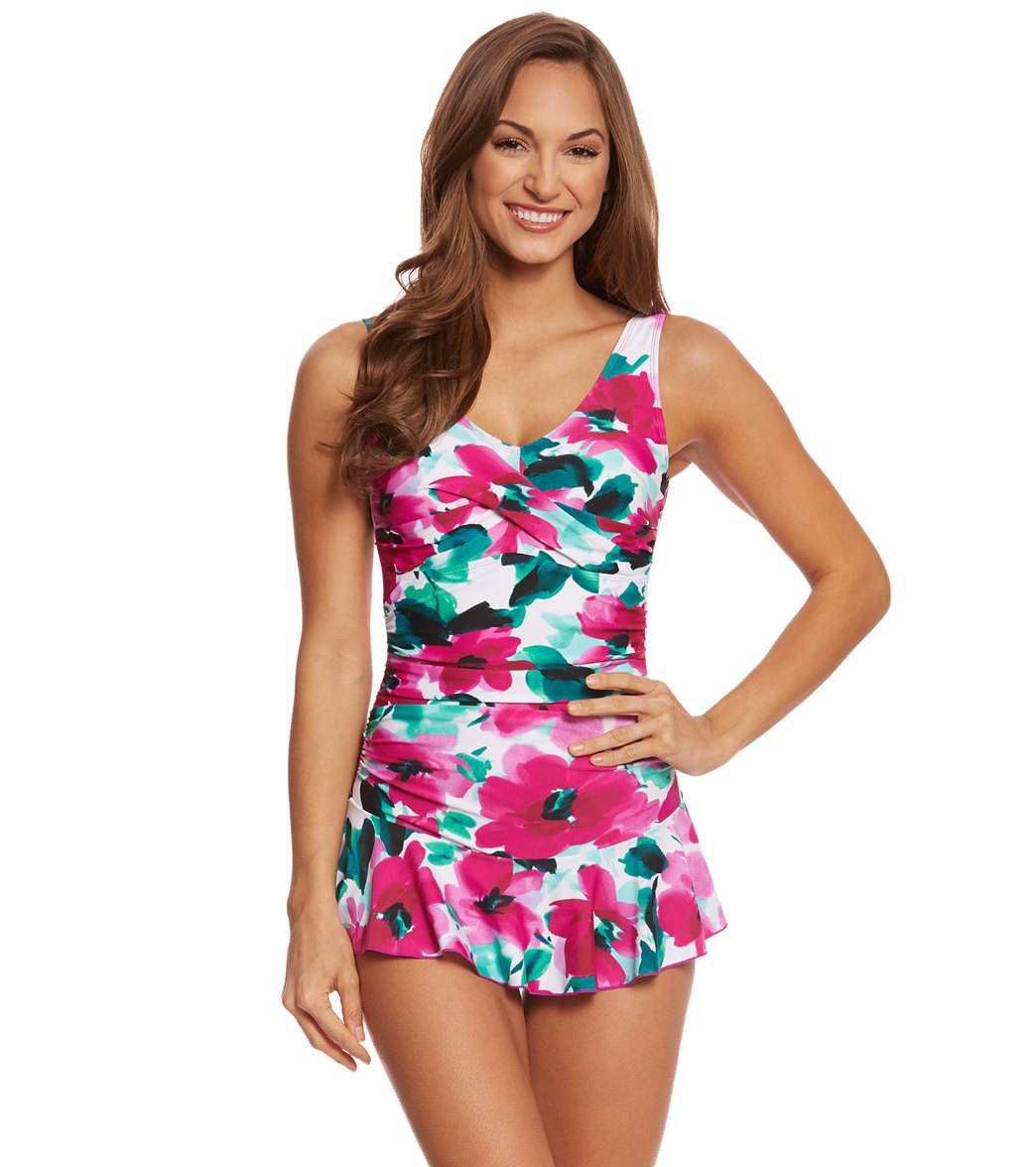 Ceeb Hibiscus Skirted One Piece Swimsuit At Swimoutlet Free